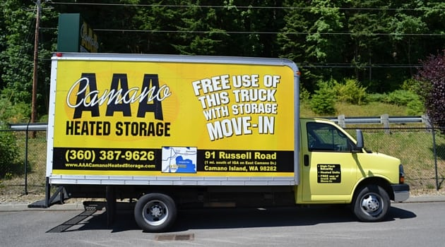 Free use of truck with move in AAA Camano Heated Storage
