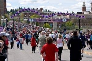runners finishing at the Bloomsday run in Liberty Lake Washington
