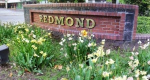 brick sign saying Redmond