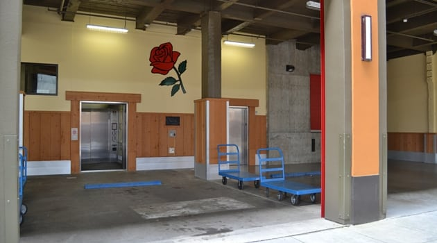 Large covered loading area to storage units