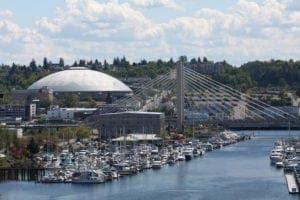 marina with boats, bridge and tacoma dome