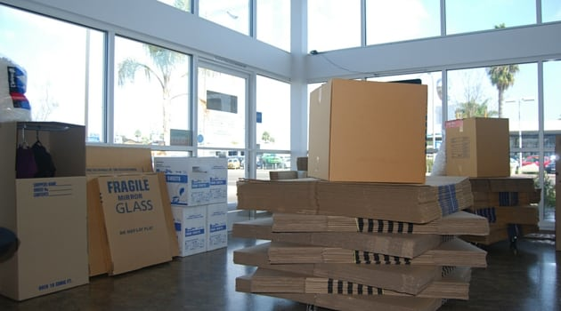 Moving boxes and packing supplies at our Costa Mesa location