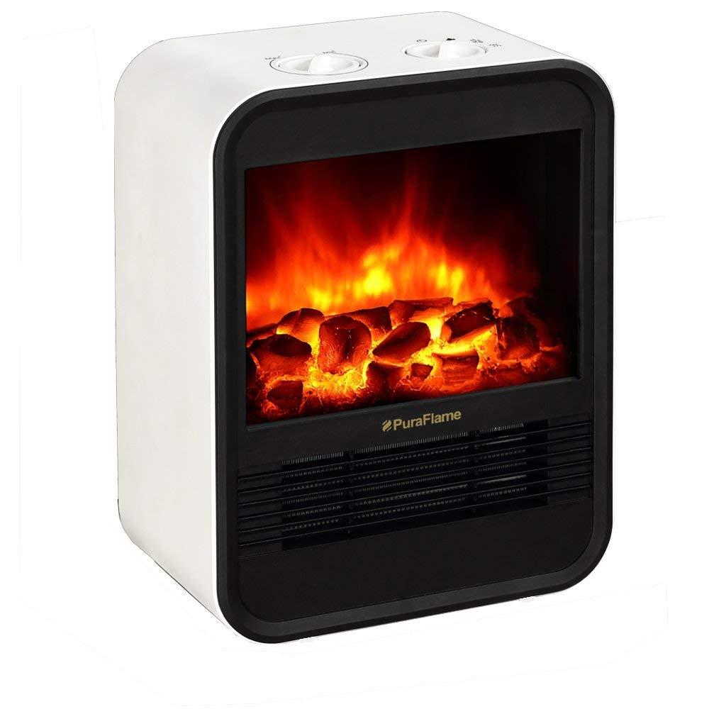 PuraFlame 1250W Clara White 9-inch Mini Portable Electric Heater