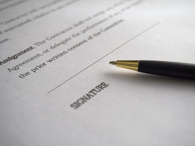 pen laying on document