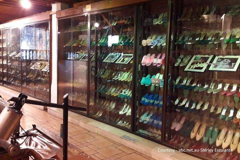 shoe display behind glass