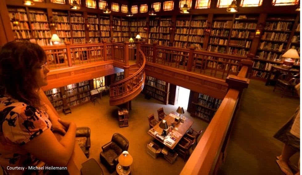 George Lucas library with shelves of books and spiral staircase
