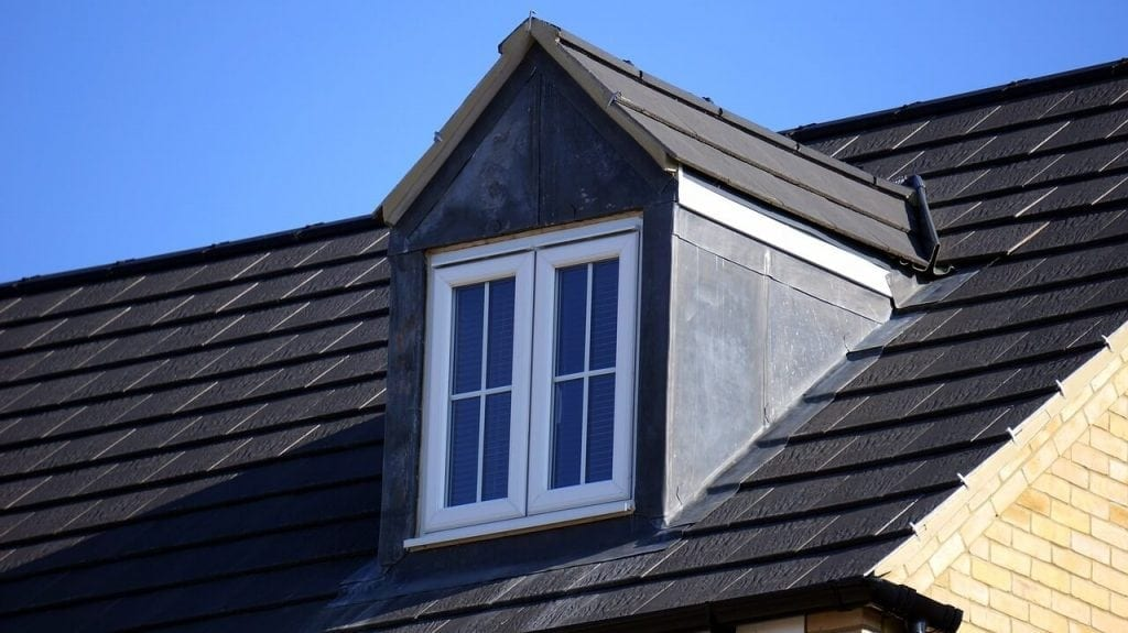roof with shingles and window