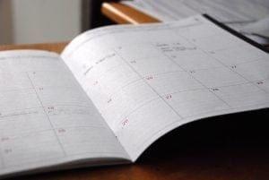 calendar open on desk