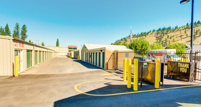 Secure entry and exit gate at Storage Solutions Spokane