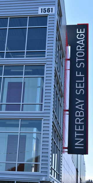 Interbay Self Storage signage on building side
