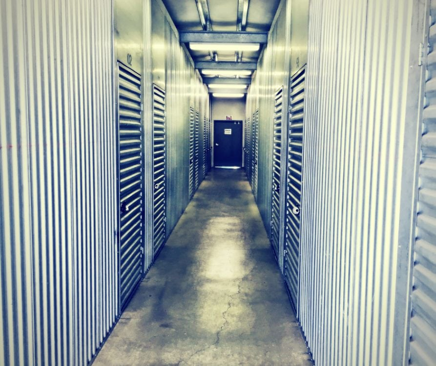 scary hallway in a storage facility