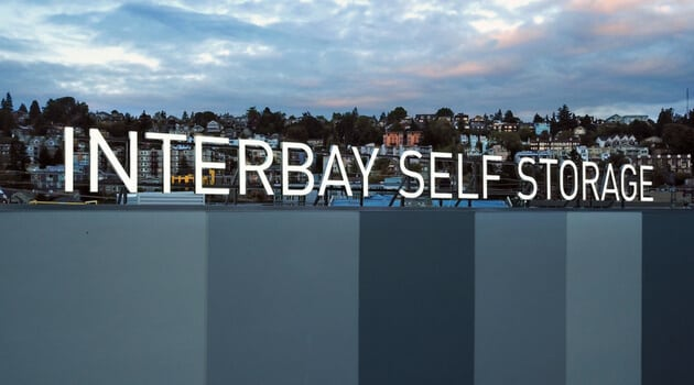 Rooftop sign at Interbay Self Storage in Queen Anne area of Seattle