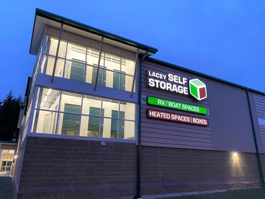 Lacey Self Storage at night