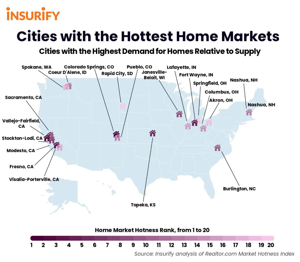 map of cities with the hottest home markets